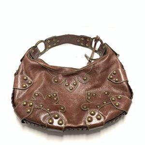 Isabella Fiore Brown Leather Studded Hobo Handbag
